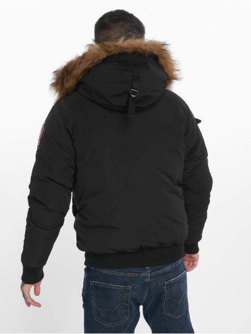 Helvetica Winterjacke Anchorage Raccoon Edition schwarz