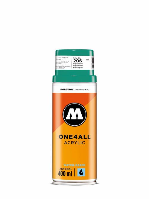 Molotow Spraymaling One4All Acrylic Spray 400ml Spray Can 206 Lagunenblau blå