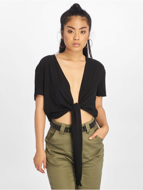 NA-KD Bluse Tie Front Cropped schwarz