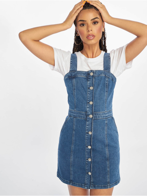 NA-KD Kleid Pinafore Mini blau