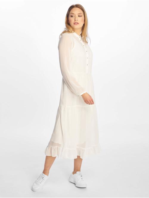 NA-KD Kleid Long Panel weiß
