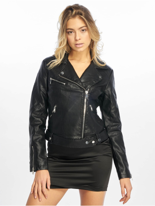 NA-KD Lederjacke Leather schwarz