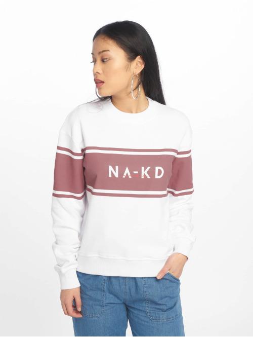 NA-KD Pullover Striped Logo weiß
