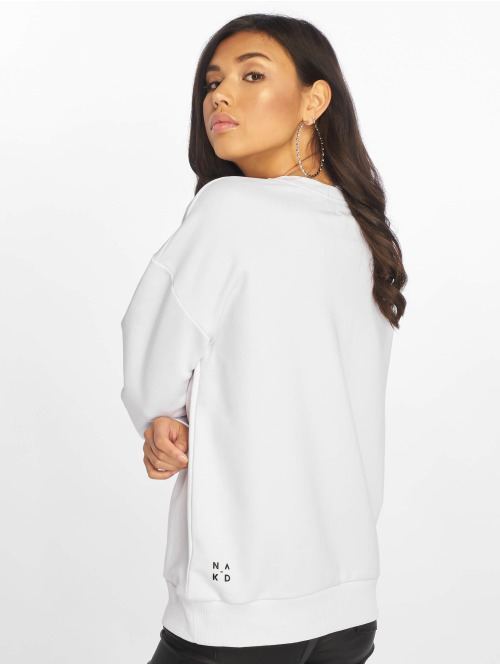 NA-KD Pullover Front Print Oversized weiß