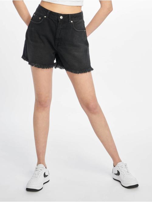 NA-KD Shorts Raw Hem High Waist Denim schwarz