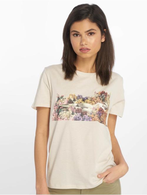 NA-KD T-Shirt Flower Girl beige