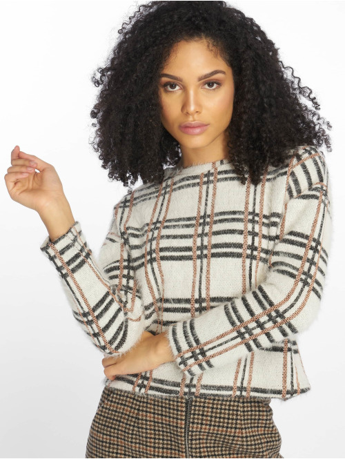 New Look Pullover C S Glitter Check weiß