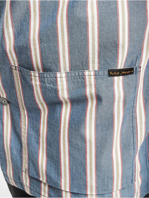 Nudie Jeans Hemd Svante Cuban Stripe blau