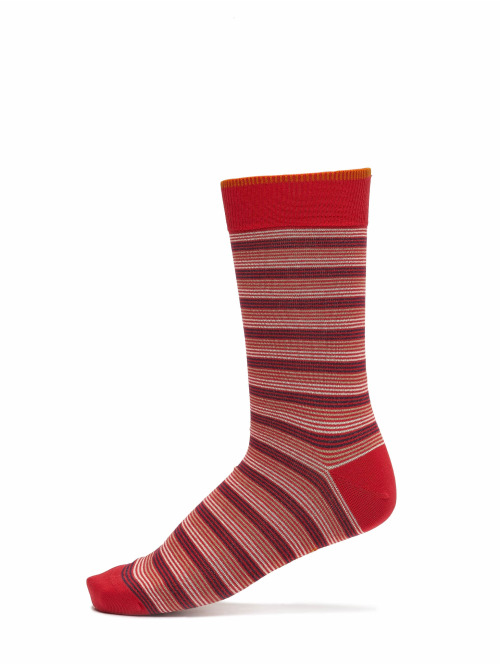 Nudie Jeans Socken Olsson Tricolour Stripe rot