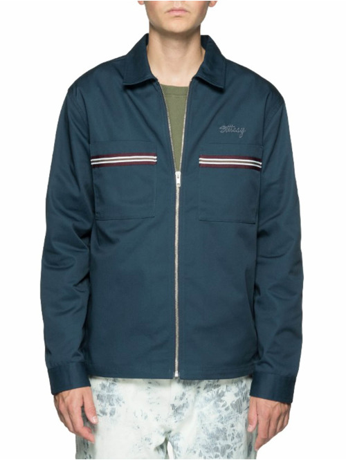 Stüssy Hemd Full Zip Work blau