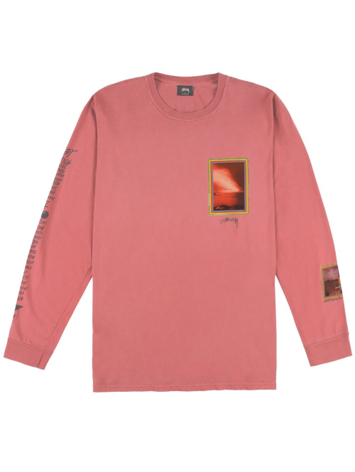 Stüssy Longsleeve Inferno Pig. Dyed pink