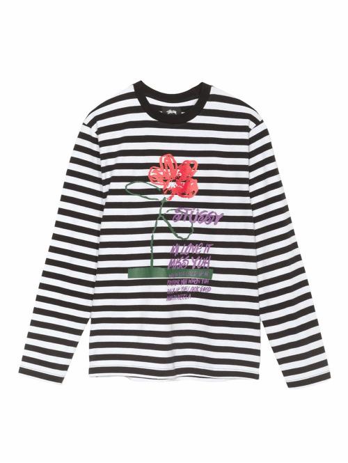 Stüssy Longsleeve Flower Stripe schwarz