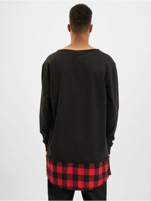 Urban Classics Pullover Long Flanell Bottom Open Edge schwarz
