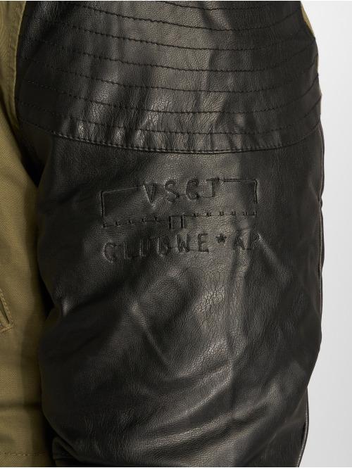 VSCT Clubwear Winterjacke Leatherlook Sleeves khaki