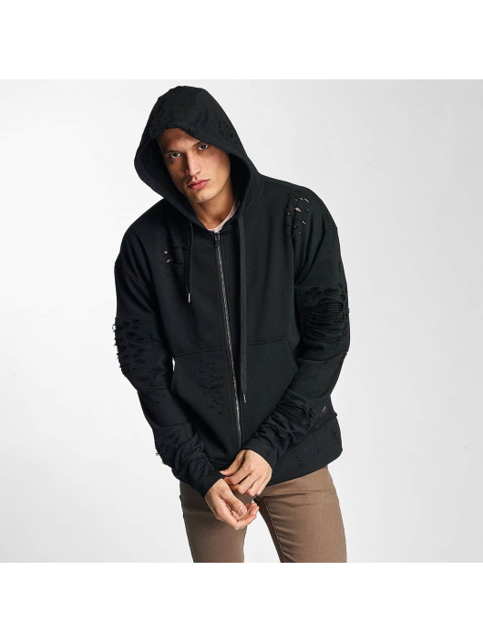 Herren Sixth June Männer Zip Hoodie Destroyed Zip Up schwarz | 3614320126516
