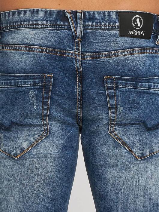 Aarhon Dżinsy straight fit Dark Washed niebieski