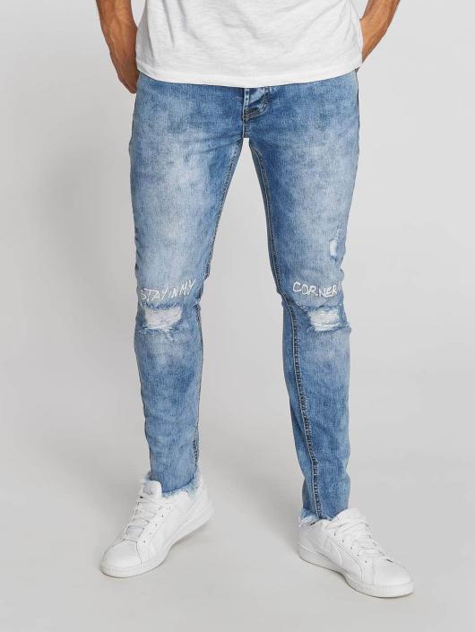 Aarhon Dżinsy straight fit Washed niebieski