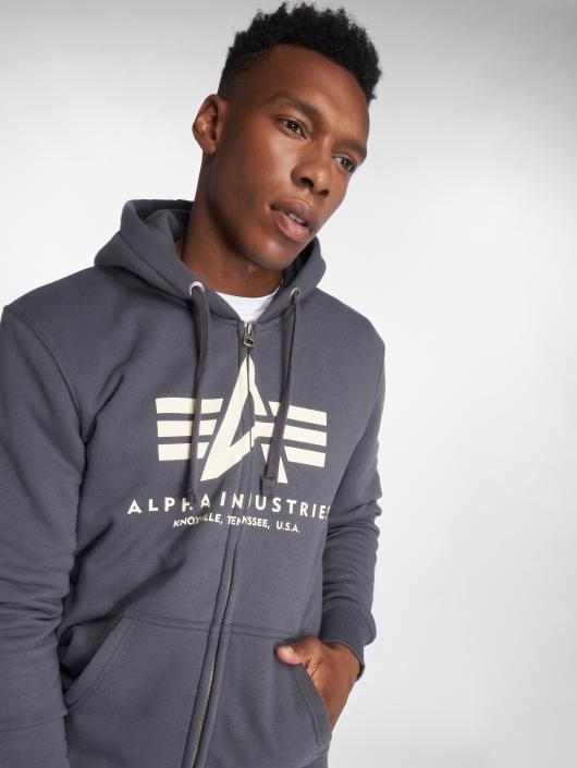 Alpha Industries Sweat capuche zippé Basic Zip gris