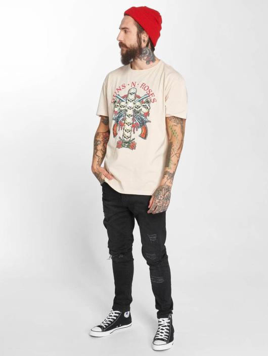 Amplified T-Shirty Guns N Roses Skull Cross bezowy