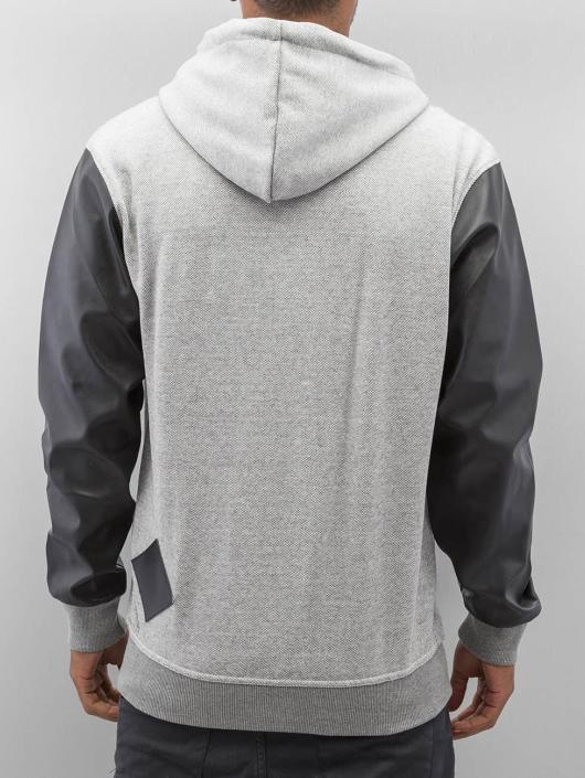 Bangastic Sweat capuche zippé PU Sleeve gris