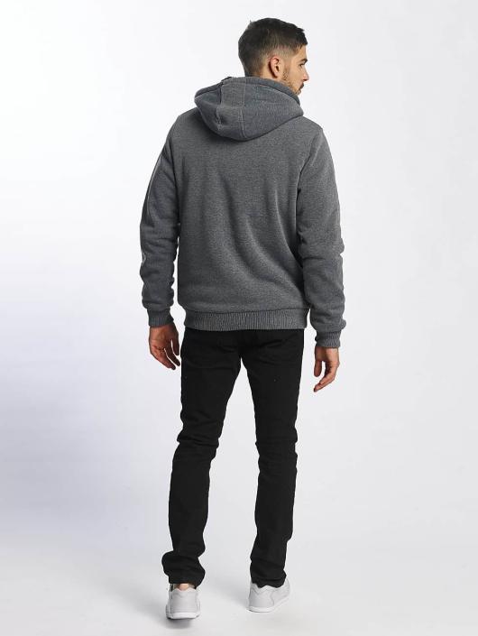 Brave Soul Hoodies con zip Sherpa Lined grigio