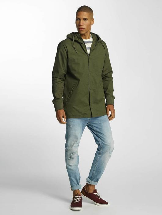 Brave Soul Transitional Jackets Snap Front Hooded Bonded khaki