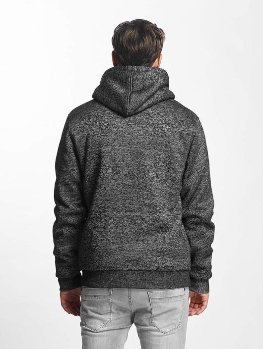Brave Soul Zip Hoodie Through Sweat With Borg grå