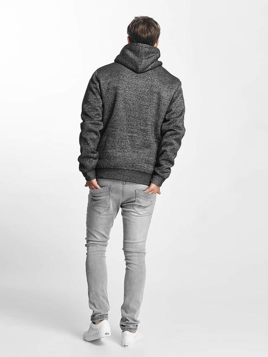 Brave Soul Zip Hoodie Through Sweat With Borg grey