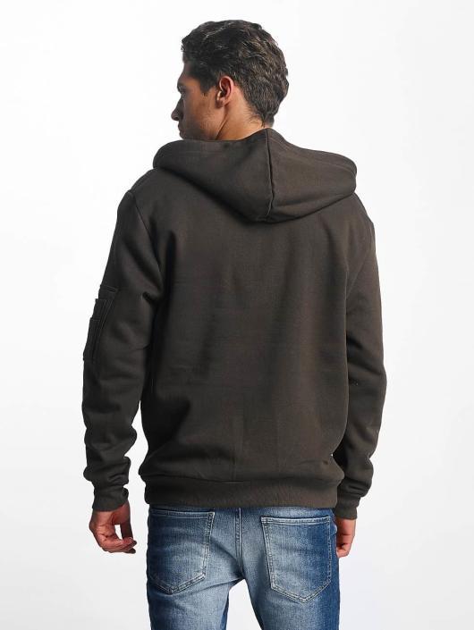 Brave Soul Zip Hoodie MSS69 khaki