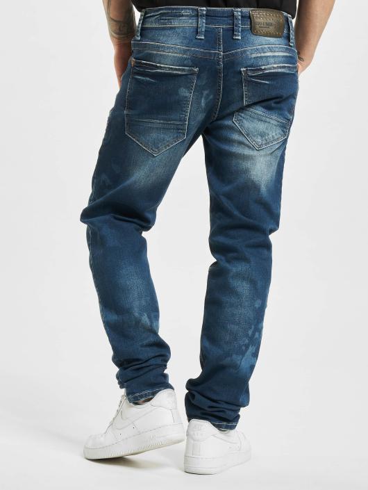 Cipo & Baxx Dżinsy straight fit Camo niebieski