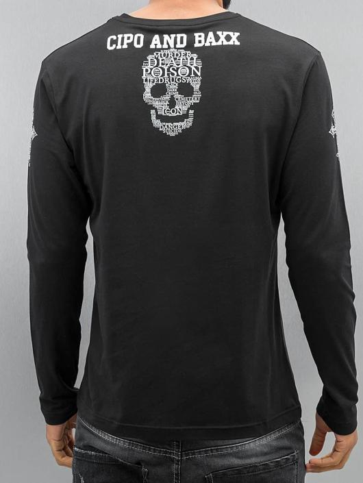 Cipo & Baxx Tričká dlhý rukáv Skull èierna