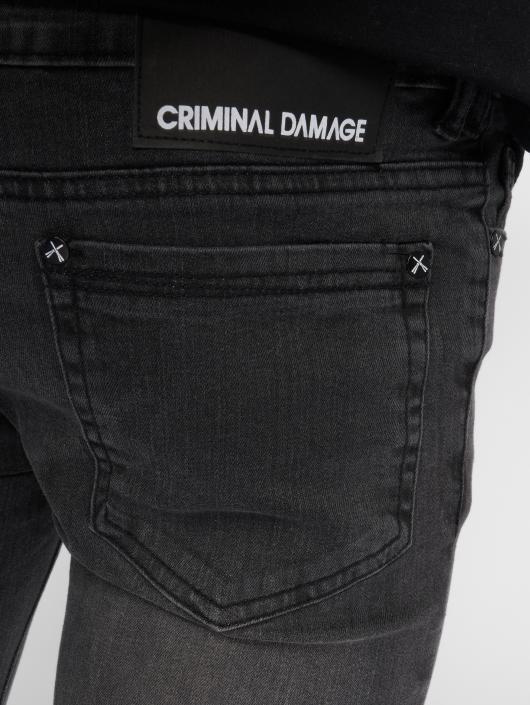 Criminal Damage Skinny Jeans Ripper black