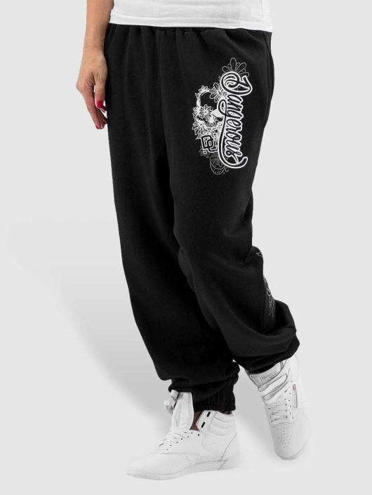 Dangerous DNGRS Jogging kalhoty Flower čern