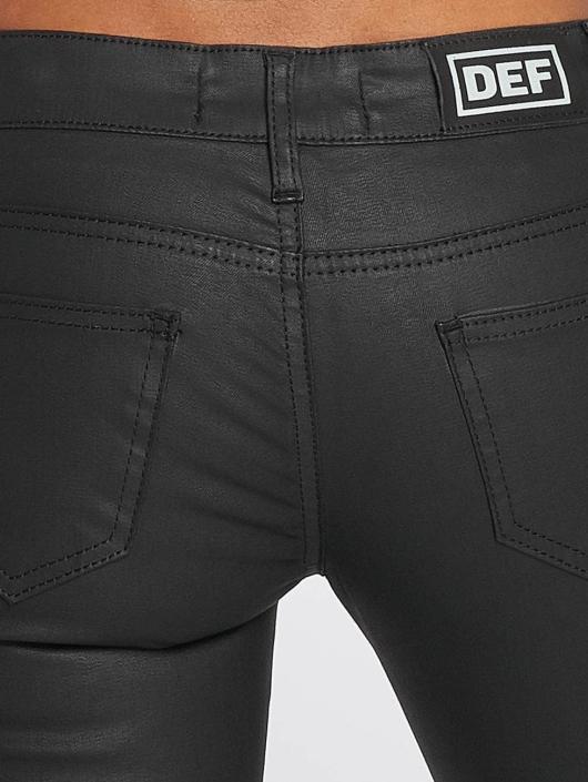 DEF Slim Fit Jeans Leatherlook svart
