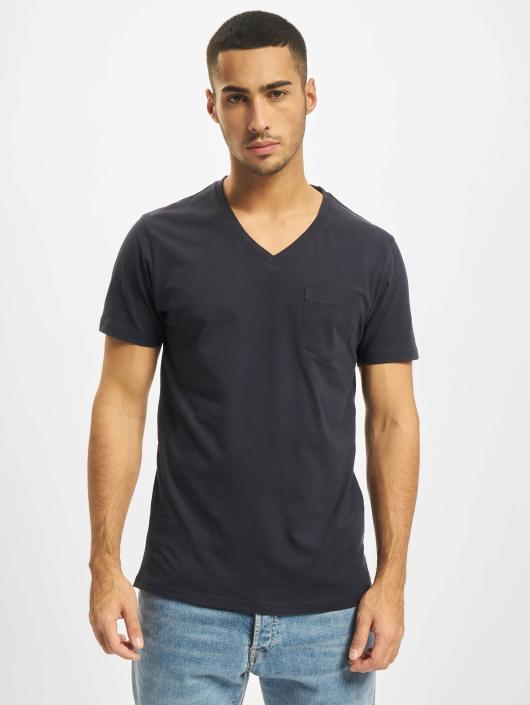 DEF T-Shirty V-Neck niebieski