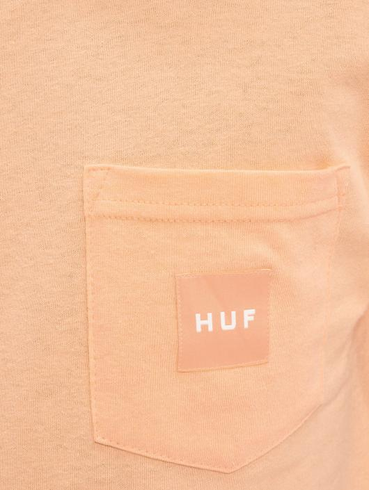 HUF T-Shirty Box Logo Pocket pomaranczowy