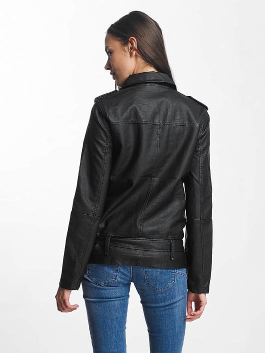 JACQUELINE de YONG Lærjakke jdyErica Long Faux Leather Biker svart