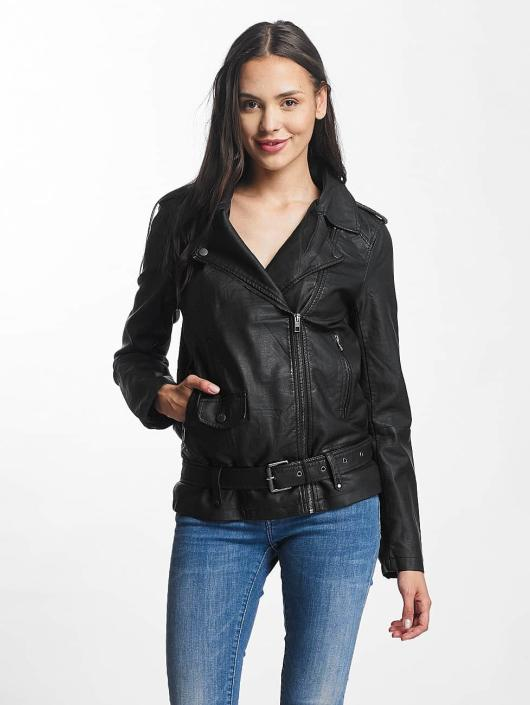JACQUELINE de YONG Leather Jacket jdyErica Long Faux Leather Biker black