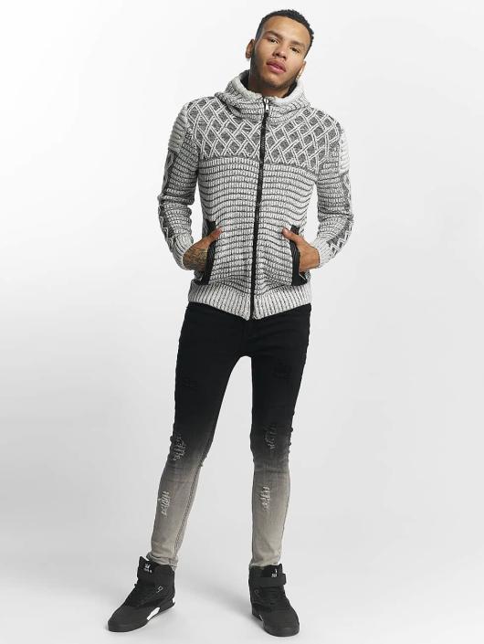 John H Sweat capuche zippé Knit Pattern blanc