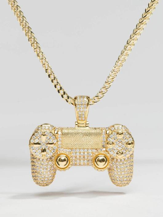 KING ICE Kette Gold_Plated CZ Pro Gamer Controller goldfarben