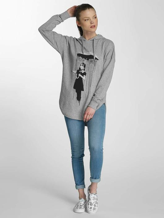 Merchcode Bluzy z kapturem Ladies Banksy Umbrella Oversized szary