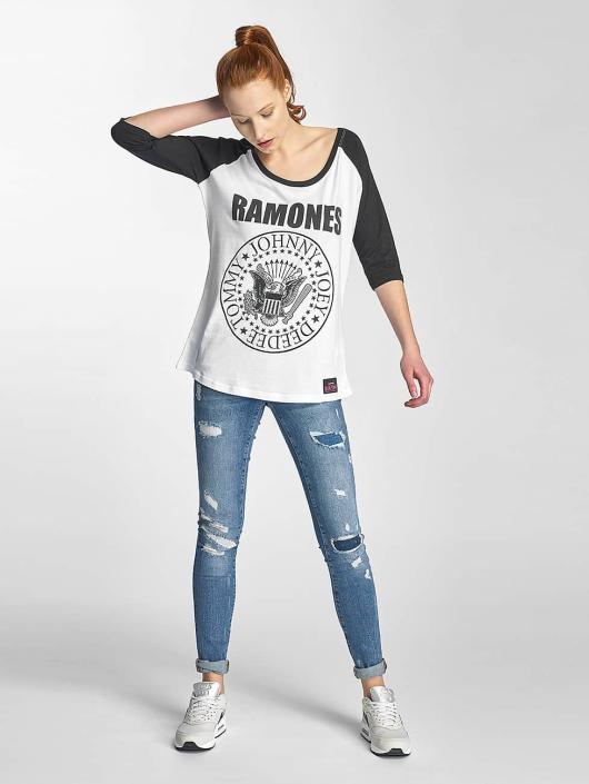 Merchcode Longsleeve Ladies Ramones Circle Raglan white