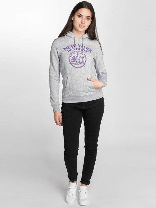 Merchcode Mikiny NYU Purple Logo šedá