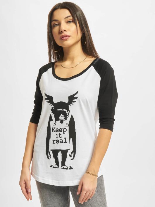 Merchcode T-Shirt Ladies Banksy Ape Raglan blanc