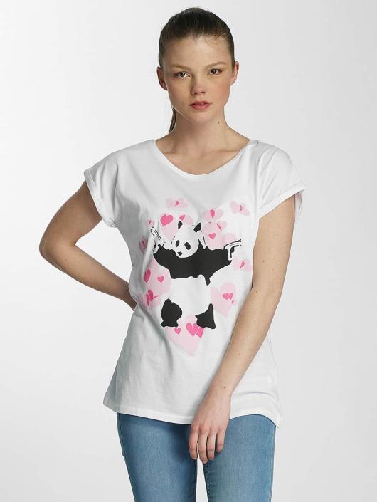 Merchcode T-Shirt Ladies Banksy Panda Heart weiß
