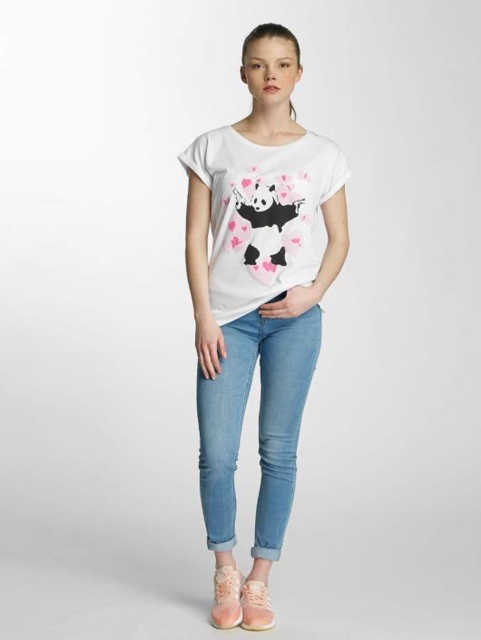 Merchcode T-Shirty Ladies Banksy Panda Heart bialy