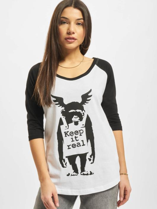 Merchcode T-Shirty Ladies Banksy Ape Raglan bialy