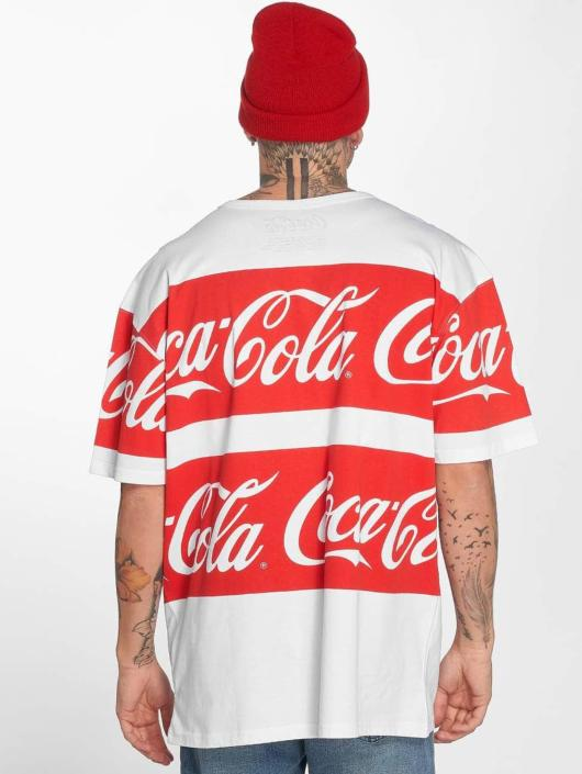 Merchcode T-Shirty Coca Cola Stripe Oversized bialy