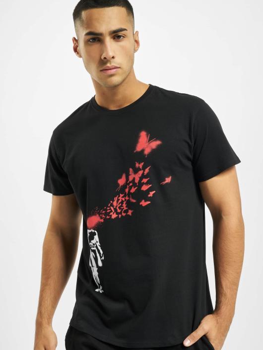 Merchcode T-skjorter Banksy Butterfly svart