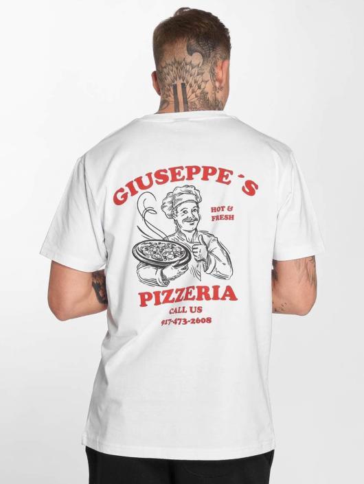 Mister Tee T-Shirt Giuseppes Pizzeria blanc